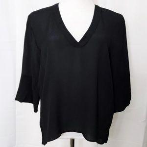 Zara Woman V Neck Blouse Hi Lo 3/4 Bell Sleeves